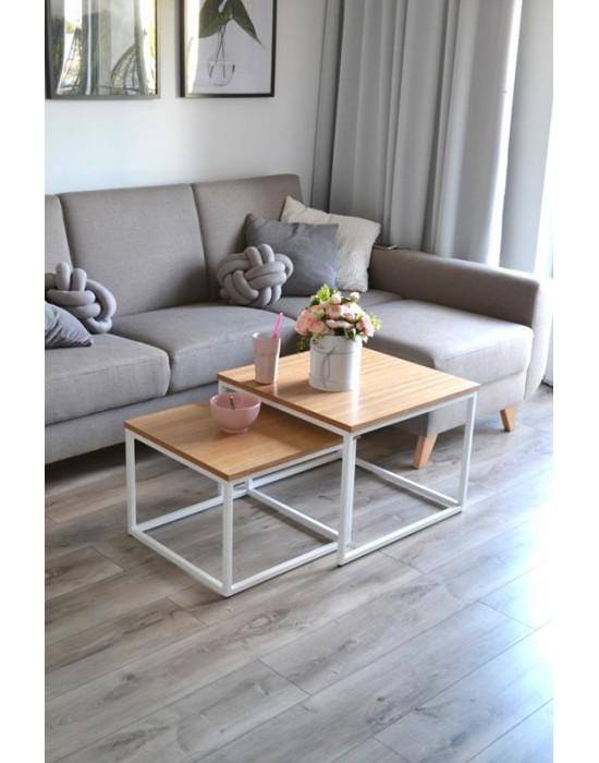 VERA II - komplet stolików z drewnianym blatem