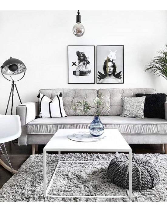 MARINA - Metalowy matowy biały stolik
