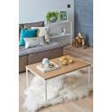 ANNABEL - stolik na białej podstawie z drewnianym blatem