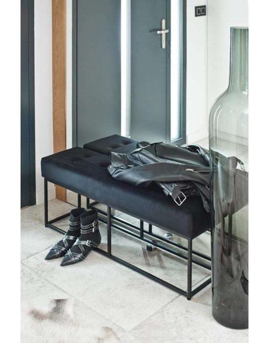 JANET - czarna pikowana ławeczka