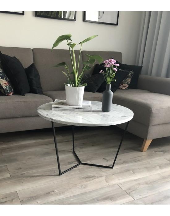 KIM - okrągły marmurowy stolik kawowy na czarnych nogach