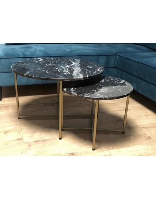 KAILA - komplet złotych okrągłych stolików z czarnym marmurem