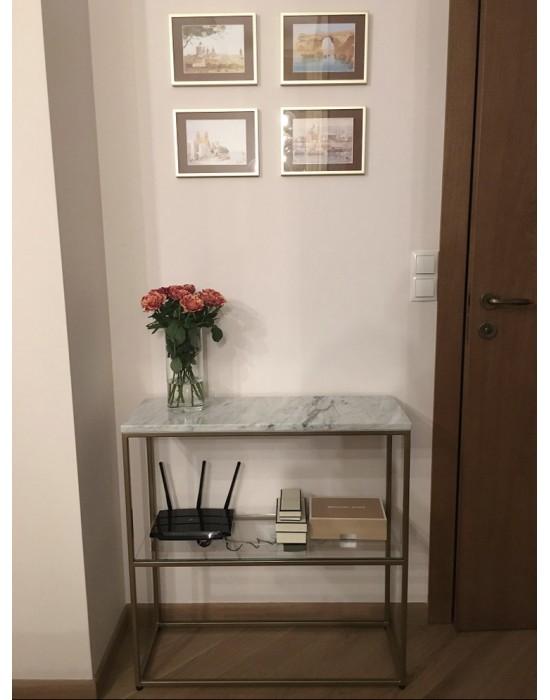 ARIANA - konsola z marmurem i szklaną półką