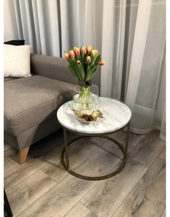 WENDY - okrągły stolik z marmurowym blatem
