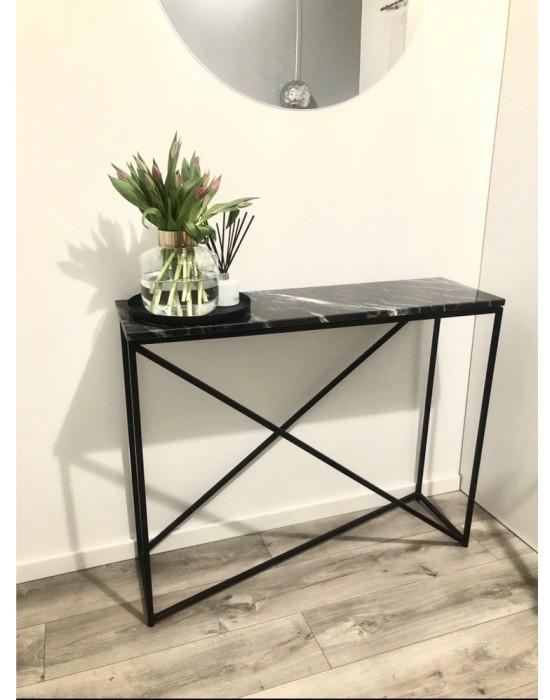 MURIEL - czarna konsola z marmurowym blatem