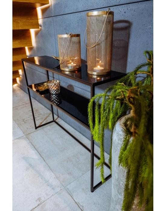 ZENOBIA - konsola ze szklanym blatem i pólką