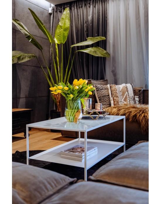 MOIRA - stolik z metalową półką i szklanym białym bloatem