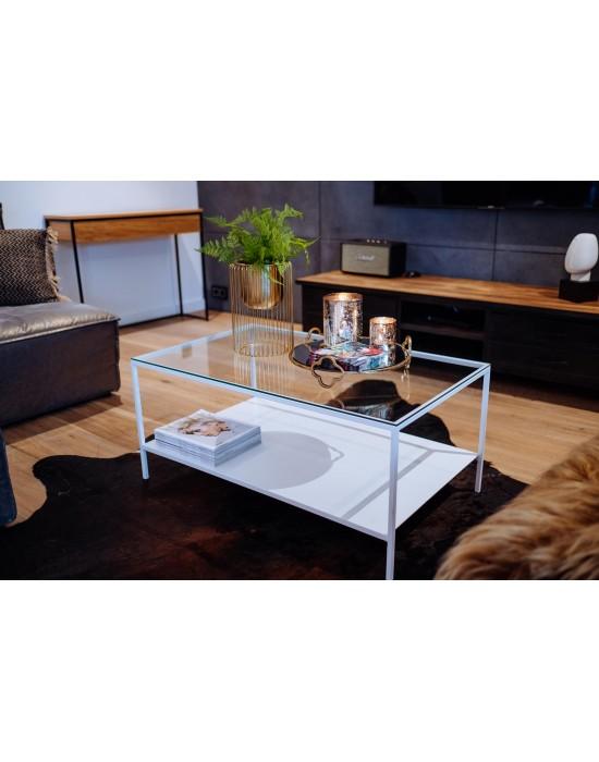 ROSE - stolik z metalową półką i szklanym przeźroczystym blatem