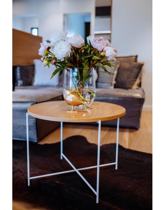 SIENNA - okrągły drewniany stolik na białych nogach