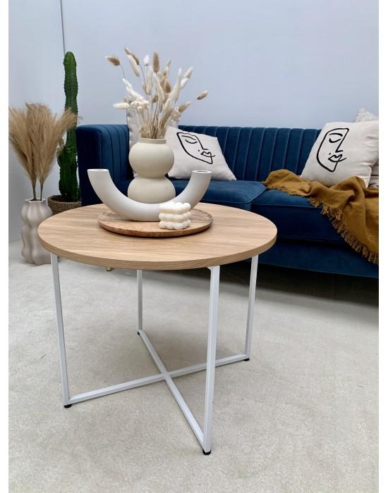 JO - okrągły stolik z drewnianym blatem