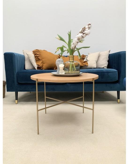 ZIMMI - okrągły stolik z drewnianym blatem