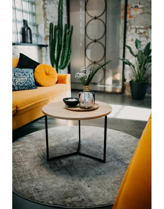 MARTHA - okrągły stolik z drewnianym blatem