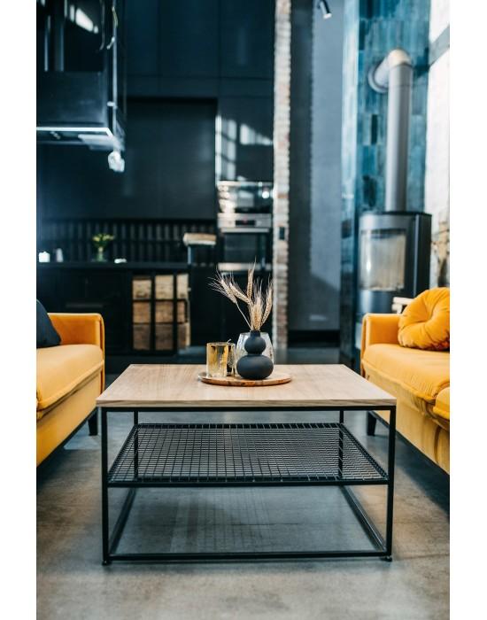 Judi - czarny stolik z ażurową półką