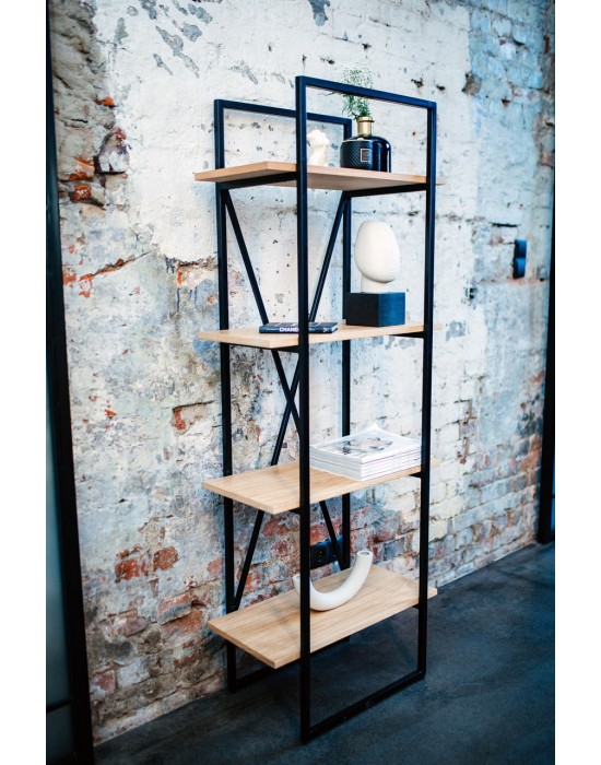 AGNES - regał na książki z drewnianymi półkami