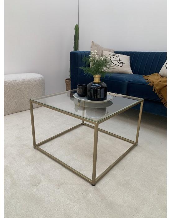 CYNDI GOLD - złoty stolik ze szklanym blatem
