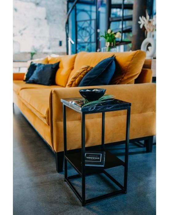 REBECA - czarny stolik nocny z półką i marmurem