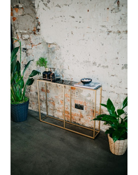 VALERY GOLD - konsola ze szklanym blatem