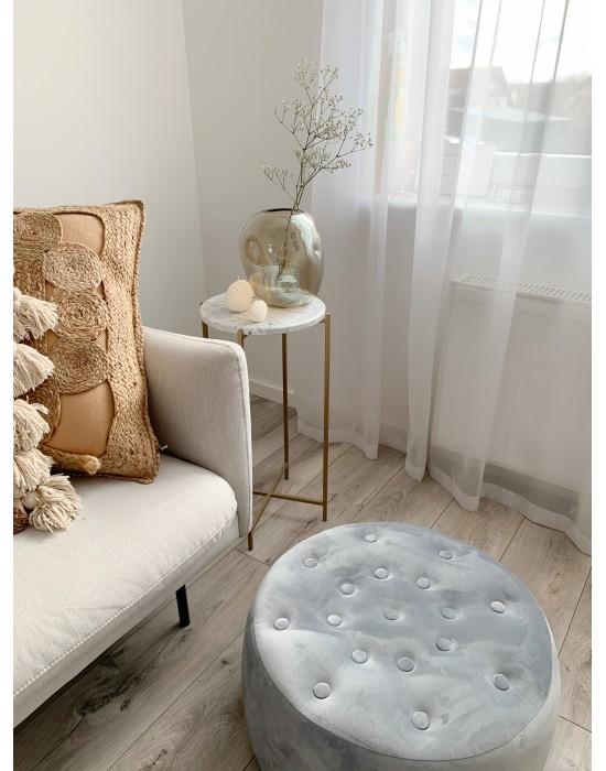 MARGOT - złoty okrągły stolik pomocniczy z marmurem