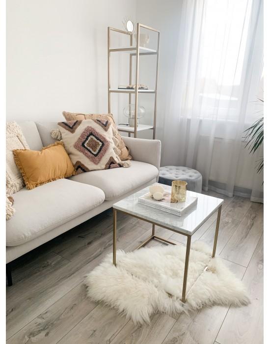 TILLA - stolik z białym marmurowym blatem i złotymi nogami