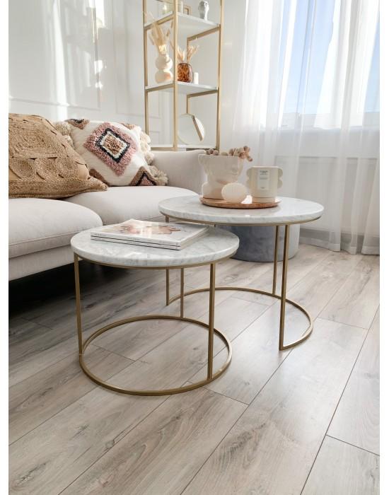 CORNELIA - komplet okrągłych stolików z marmurowym blatem