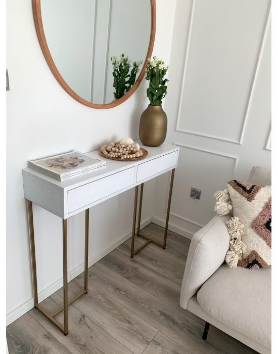 MIRIAM - biała toaletka z szufladami na złotych nogach