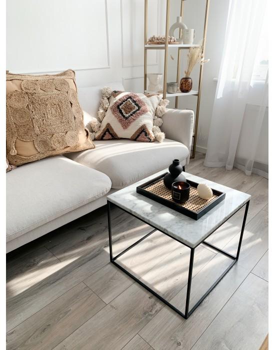 TILLA BLACK- stolik z białym marmurowym blatem i czarnymi nogami