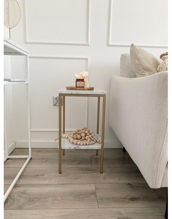 LOVIS - marmurowy stolik nocny z półką
