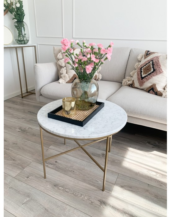 INESS - marmurowy okrągły stolik na złotych nogach