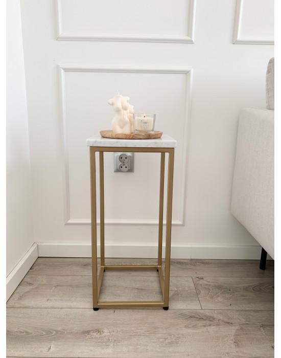 MAVON - mały stolik nocny z marmurowym blatem