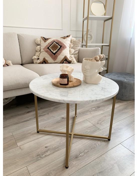 STELLA - okrągły stolik kawowy ze złotym stelażem